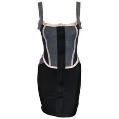Herve Leger Structured Multi Color Bandage Dress