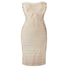 Hervé Léger Summer Strapless Embellished Bandage Dress