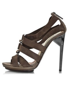 Herve Leger Taupe Strappy Leather Sandals Sz 37.5