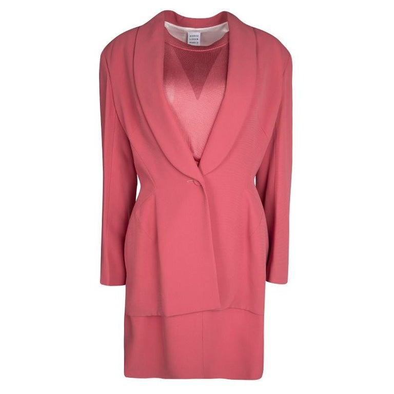 6b9ed3d40b09 Herve Leger Vintage Pink Mesh Top Skirt and Blazer Set XL For Sale ...