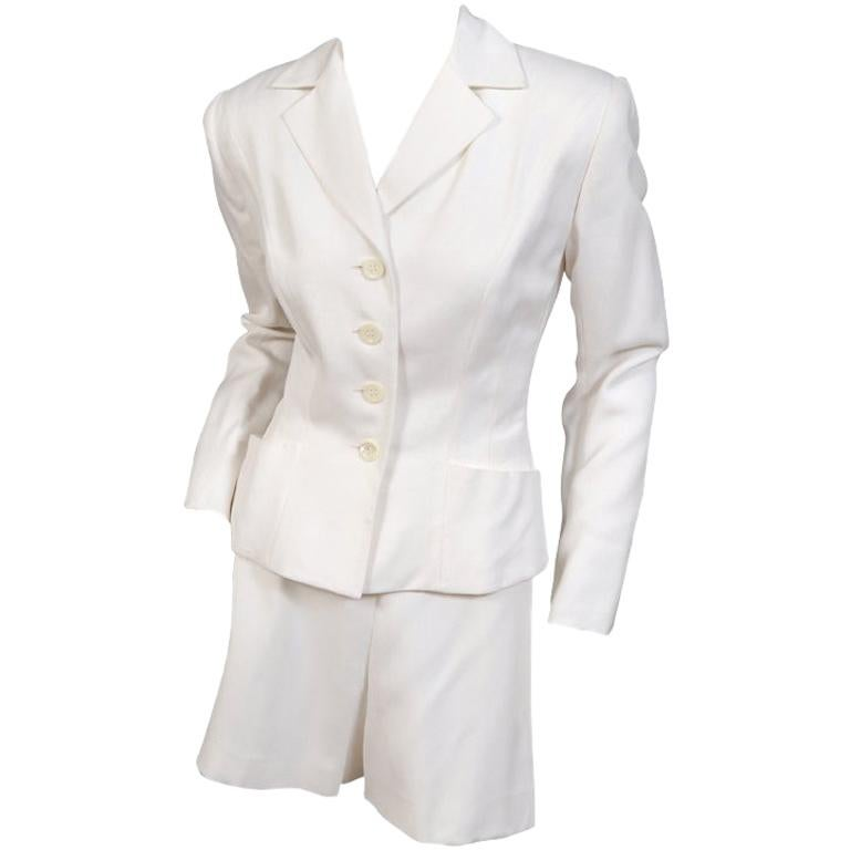 Herve Leger White Blazer and Sailor Style Shorts Suit