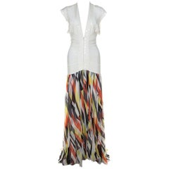 Herve Leger White Sequin Knit and Multicolor Chiffon Backless Maxi Dress S