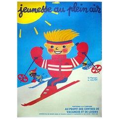 Vintage Poster Original Herve Morvan Jeunesse Au Plein Air Ski French Art
