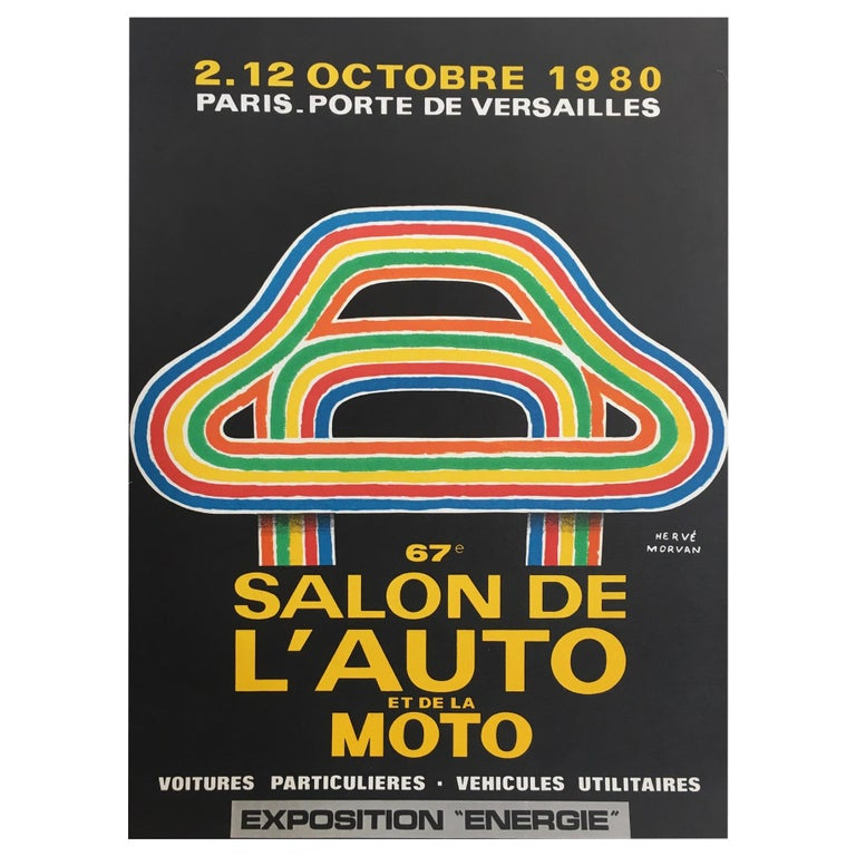 Herve Morvan, Original Vintage Poster, 'Auto and Motorcycle Show', 1980 For Sale