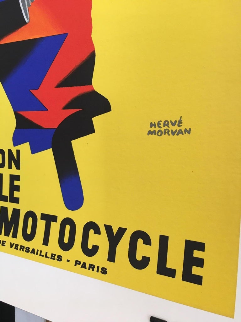 Herve Morvan - Original vintage poster, 'Cycle and Motorcycle Show', 1977  Herve Morvan is a French artist from the 1950s that designed many posters using humorous happy characters. This is an original vintage advertising poster.   Artist: