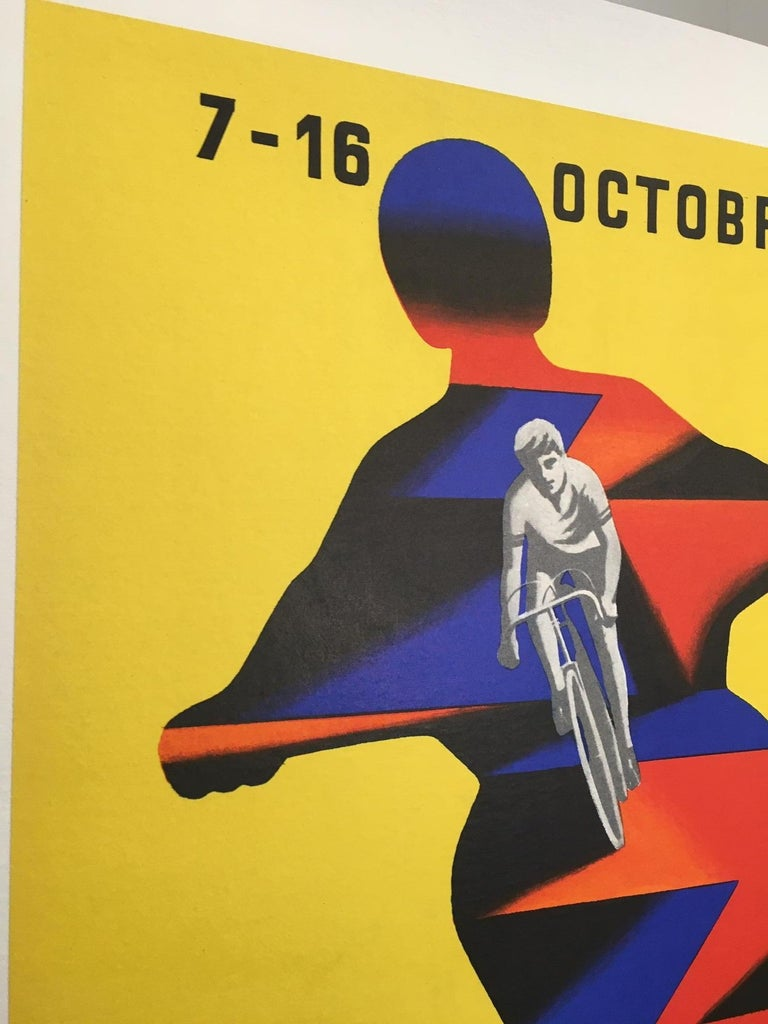 Mid-Century Modern Herve Morvan, Original Vintage Poster, 'Cycle and Motorcycle Show', 1977 For Sale