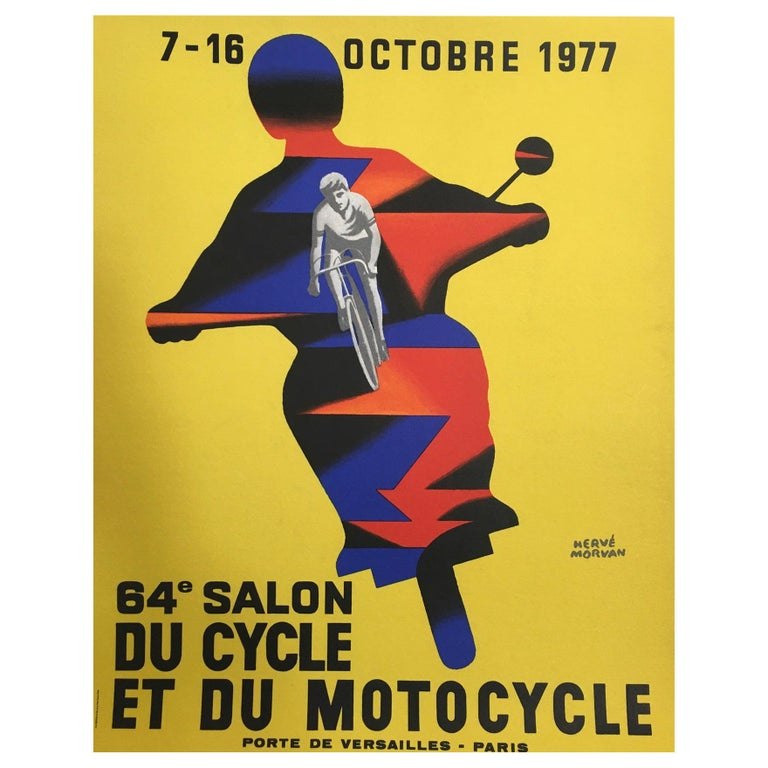 Herve Morvan, Original Vintage Poster, 'Cycle and Motorcycle Show', 1977 For Sale