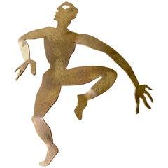 Herve Van Der Straeten Gilded Brass Dancer Brooch