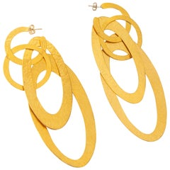 Herve Van der Straeten Gold Plated Concentric Circle Dangle Pierced Earrings