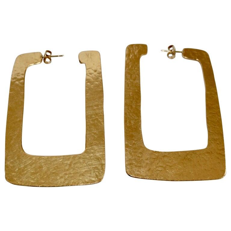 Herve van der Straeten Rectangular Hoop Earrings For Sale