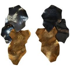 Herve van der Straeten Ruthenium and Gold Clip Earrings