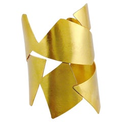 Herve Van Der Straeten Vintage Gold Toned Cuff Bracelet