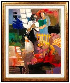 Hessam Abrishami Large Original Oil Painting On Canvas Signed Musician Artwork