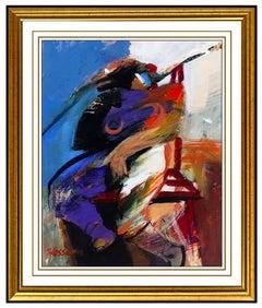 Hessam Abrishami Original Oil Painting On Board Modern Female Portrait Abstract
