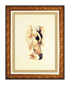 Hessam Abrishami Original Painting Pastel On Board Modern Portrait Signed Art