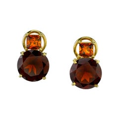 Hessonite Square,  Almandite Round Garnet 18k Gold French Clip Stud Earrings