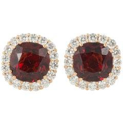 Hessonite Garnet and Diamond Cluster Ear Studs