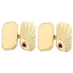 Hessonite Garnet and Yellow Gold Cufflinks