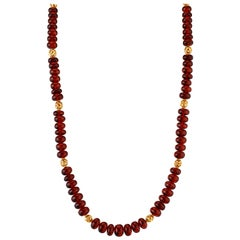 Hessonite Garnet Beaded Necklace with 14 Karat and 22 Karat Spacers