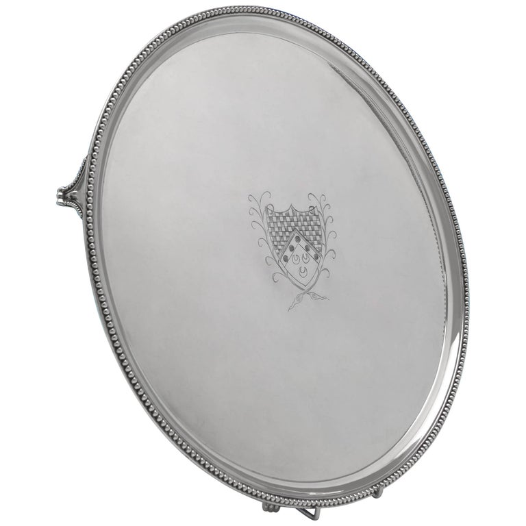 Hester Bateman, George III Antique Sterling Silver Salver from 1785 For Sale