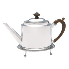 Hester Bateman George III Antique Sterling Silver Teapot and Stand from 1785