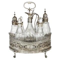 Hester Bateman Georgian Sterling Silver Crystal Antique Cruet Set, circa 1787
