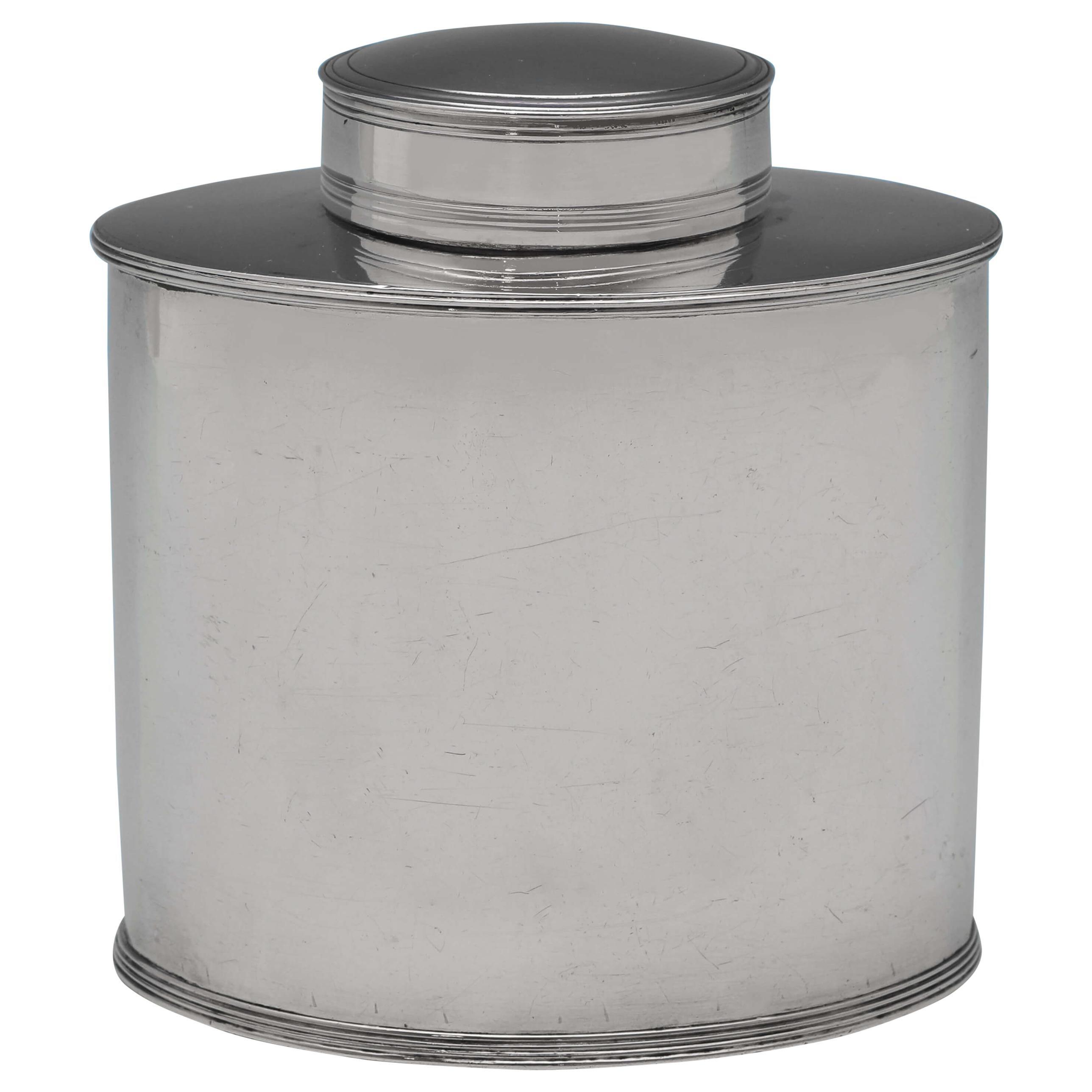 Hester Bateman, Sterling Silver Tea Caddy, London 1788, Oval Shape