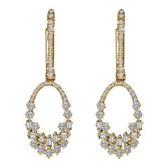 Hestia Modern Illuminate Baguette Diamond Drop Gold Earrings