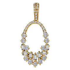 Hestia Modern Illuminate Baguette Diamond Pendant Gold Necklace