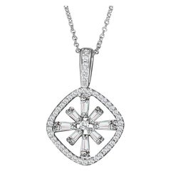 Hestia Modern Bright Star Baguette Diamond Pendant Necklace