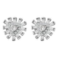 Hestia Modern Glamour Diamond Cluster White Gold Stud Earrings