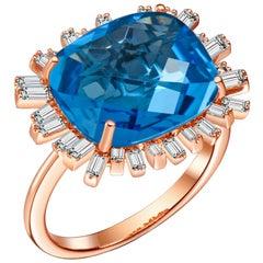 Hestia Modern Cushion Cut Blue Topaz Diamond 18 Karat Gold Romance Cocktail Ring