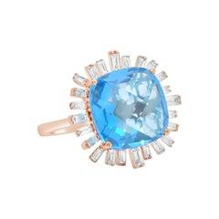 Hestia Modern Cushion Cut Blue Topaz Diamond 18 Karat Gold Cocktail Ring
