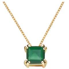 Hestia Modern Green Agate Princess Cut Gemstone Audrey Necklace