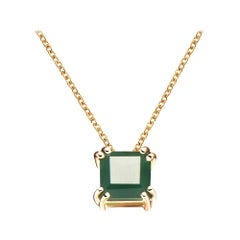 Hestia Modern Green Agate Princess Cut Gemstone Necklace