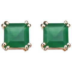 Hestia Modern Green Agate Princess Cut Sophia Stud Earrings