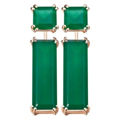 Hestia Modern Sophia Green Agate Stud and Marilyn Gemstone Earring Extenders