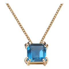 Hestia Modern London Blue Topaz Princess Cut Gemstone Necklace