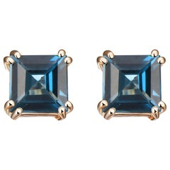 Hestia Modern London Blue Topaz Princess Cut Sophia Stud Earrings