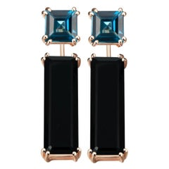 Hestia Modern London Blue Topaz Stud and Black Onyx Gemstone Earring Extenders