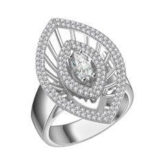 Hestia Modern Marquise Diamond 14 Karat White Gold Cocktail Diamond Ring