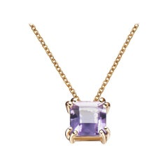 Hestia Modern Purple Amethyst Princess Cut Gemstone Audrey Necklace