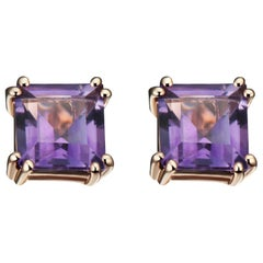 Hestia Modern Purple Amethyst Princess Cut Sophia Stud Earrings