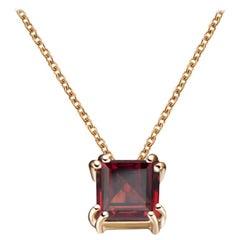 Hestia Modern Red Garnet Princess Cut Gemstone Audrey Necklace