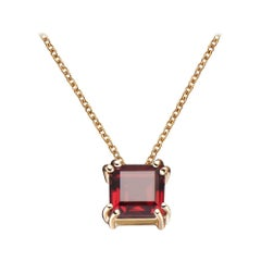 Hestia Modern Red Garnet Princess Cut Gemstone Necklace