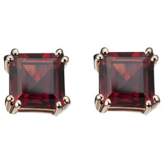 Hestia Modern Red Garnet Princess Cut Sophia Stud Earrings