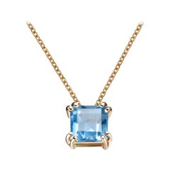 Hestia Modern Swiss Blue Topaz Princess Cut Gemstone Necklace