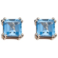 Hestia Modern Swiss Blue Topaz Princess Cut Sophia Stud Earrings