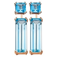 Hestia Modern Sophia Swiss Blue Topaz Stud & Marilyn Gemstone Earring Extenders