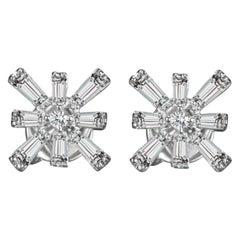 Hestia Modern Star Baguette Diamond White Gold Earrings